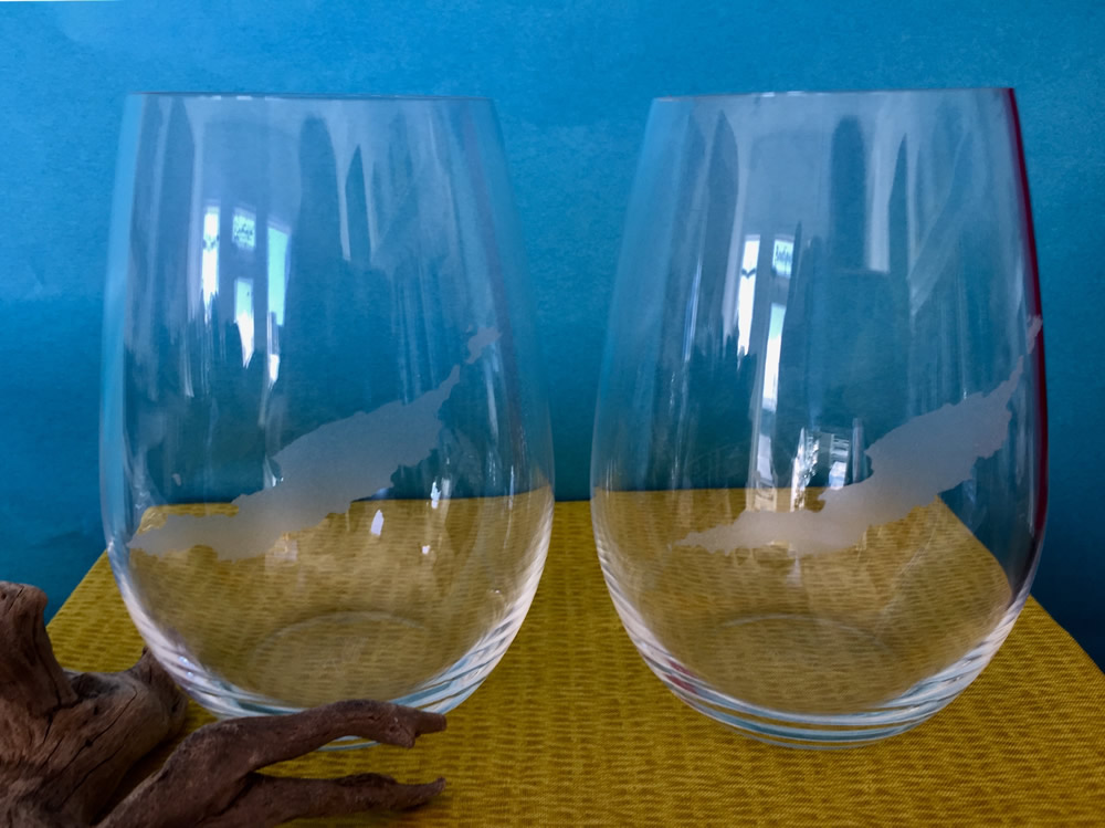 Stemless Wine Glasses Etched with Outline of Anguilla