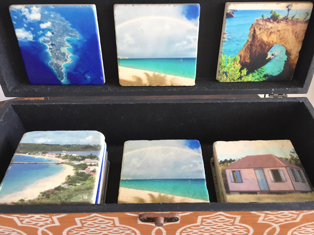 Italian Marble Coasters Imprinted with Beautiful Images of Anguilla