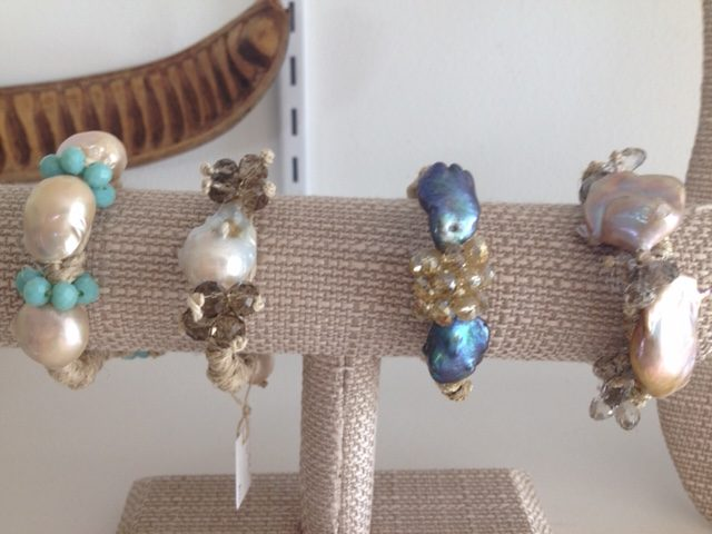 Mela Bracelets - Baroque Pearls Hand-Designed on Organic Linen