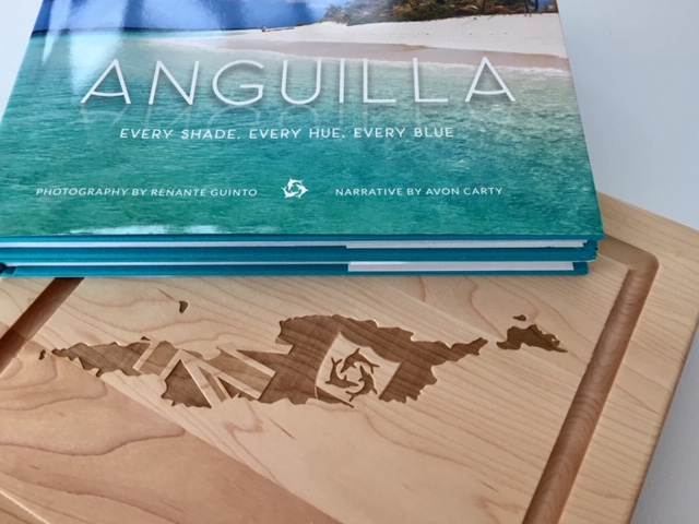 Wood Carved Appetizer Board & Anguilla Coffee Table Book